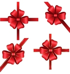 Sset of red gift bows with ribbons vector image