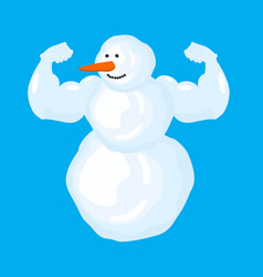 Strong snowman isolated winter fitness snow sports vector
