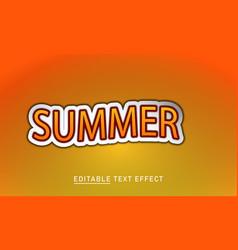 Summer 3d editable text effect design vector
