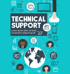 Technical support and customer service banner vector
