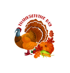 Thanksgiving day turkey and autumn pumpkin symbol vector