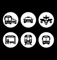 transport set on round icons vector image