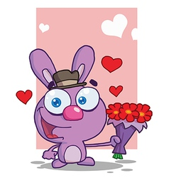 Valentines bunny cartoon vector image