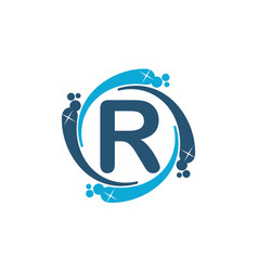 Water clean service abbreviation letter r vector