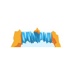 Water falling down from rocky cliff cartoon vector