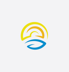 water wave and sun circle icon logo vector image