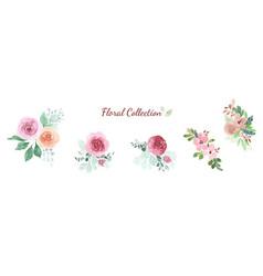 watercolor floral rose bouquet design element set vector image