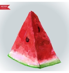 Watercolor slice watermelon vector