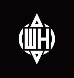 wh logo with circle rounded combine triangle top vector image