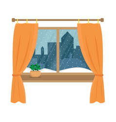 window overlooking the snow in the night city vector image