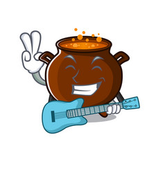 With guitar cauldron toy in character shape vector