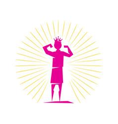 Woman power king winner logo icon symbol vector