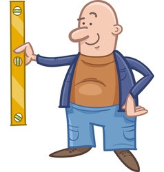 Worker with spirit level cartoon vector