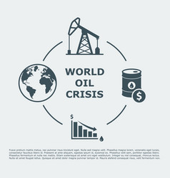 World oil crisis infographic vector