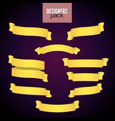 yellow web ribbon banners set vector image