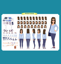 Young woman casual clothes character vector