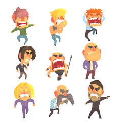 Angry furious men set for label design colorful vector