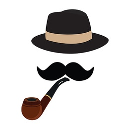 Fedora hat smoking pipe and mustache vector image