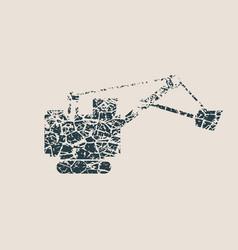 Flat excavator icon vector