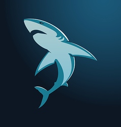Great white shark sign logo on blue background vector image