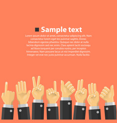 group of hands in the top vector image