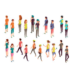 isometric 3d people young casual persons vector image vector image