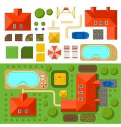 Plan of private house with garden pool and car vector