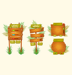 set of cartoon wooden signs of various vector image vector image