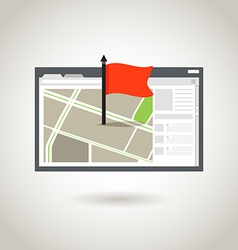 Map and a red flag vector image