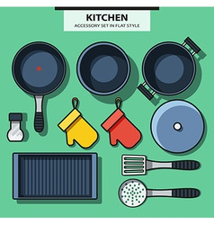 Set of kitchen subjects in flat style vector image