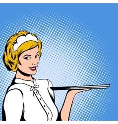 Waitress comics woman vector image