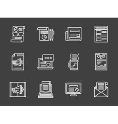 White line marketing icons set vector image