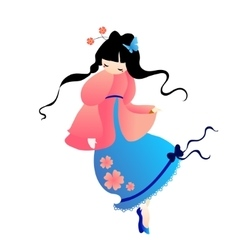 cute little Japanese girl in a pink dress vector image