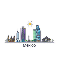 flat line mexico banner vector image vector image