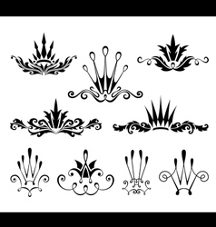 Graphical decorative elements with crowns vector image vector image