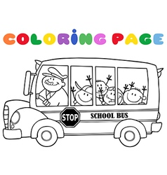 Outlined School Bus With Happy Children vector image