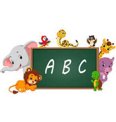 alphabet with cute wild animal vector image vector image