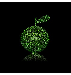 Apple Silhouette Filled With Diiferent Eco Object vector image