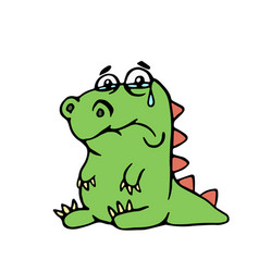 cute unhappy dinosaur cute unhappy vector image vector image