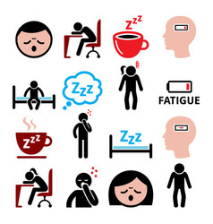 Fatigue icons set tired sressed or sleepy vector