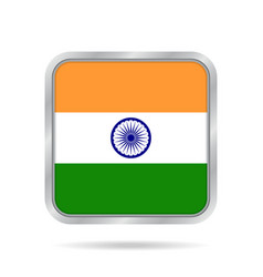 flag of india shiny metallic gray square button vector image vector image