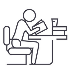 man studyingreading book in library line vector image