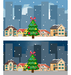 night city and day christmas city and building vector image
