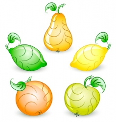 set of stylized fruits vector image vector image