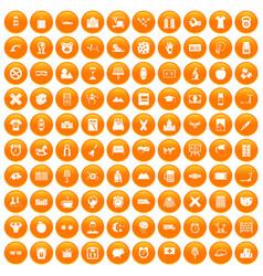 100 alarm clock icons set orange vector