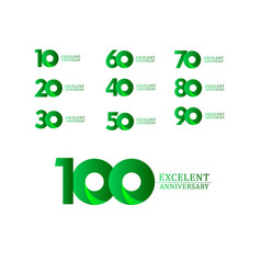 100 years excellent anniversary celebration green vector