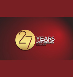 27 years anniversary logotype with golden circle vector