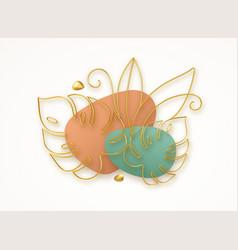 3d golden line art monstera leaves modern trending vector image