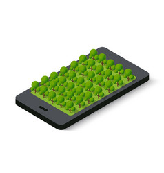 3d map isometric city mobile phone on the vector image