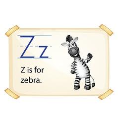 A letter z for zebra vector